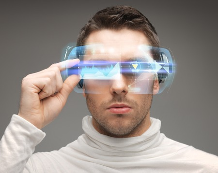 future, technology and people concept - man in futuristic glasses