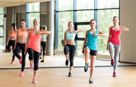 gym class: fitness, sport, training, gym and lifestyle concept - group of women working out in gym