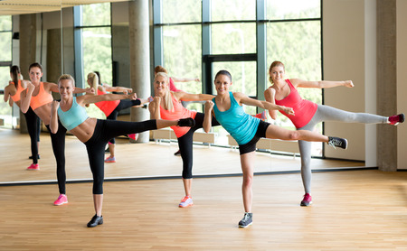 group fitness: fitness, sport, training, gym and lifestyle concept - group of women working out in gym