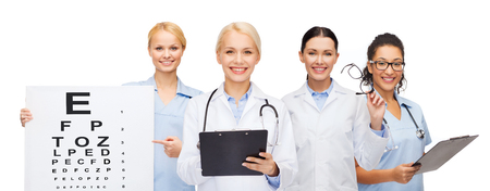 healthcare, vision and medicine concept - smiling female eye doctors and nurses with eye exam chart, glasses and clipboard photo