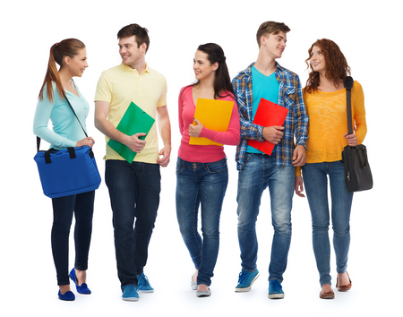teenage male: friendship, youth, education and people - group of smiling teenagers with folders and bags Stock Photo