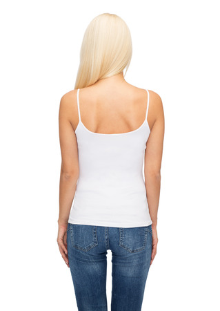 empty tank: shirt design and people concept - young woman in blank white tank top from back Stock Photo