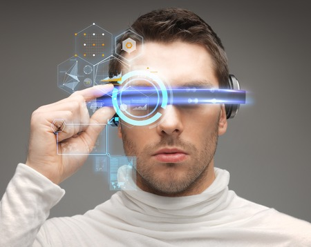 global innovation: future, technology and people concept - man in futuristic glasses