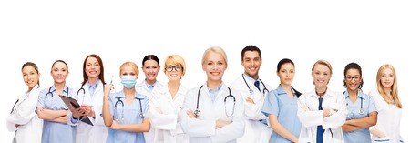 physiotherapists: medicine and healthcare concept - team or group of doctors and nurses