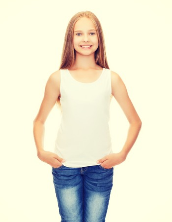 shirt design concept - smiling teenage girl in blank white shirt photo