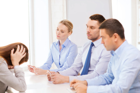 business, career and office concept - businesswoman getting fired in office photo