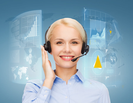 telephone operator: business, technology and call center concept - friendly female helpline operator with headphones