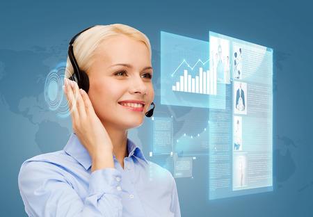 virtual assistant: business, technology and call center concept - friendly female helpline operator with headphones