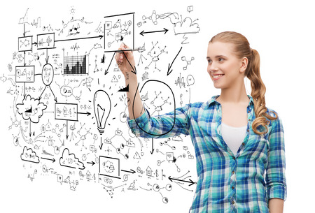 finance girl: happiness and people concept - smiling young woman writing or drawing scheme on transparent screen over white background