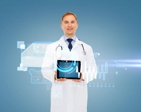 medicine, future technology, people and healthcare concept - smiling male doctor with tablet pc computer and stethoscope over virtual screen background photo