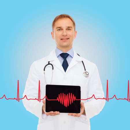 medicine, profession, and healthcare concept - smiling male doctor with stethoscope showing tablet pc computer screen over blue background photo