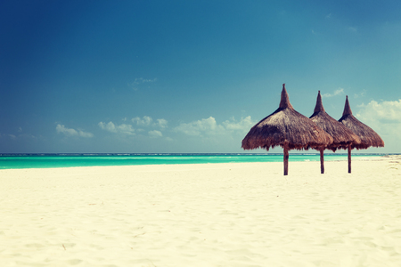 vacation, beach, sea and leisure concept - tropical beach with palapa photo