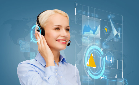 secretary phone: business, technology and call center concept - friendly female helpline operator with headphones