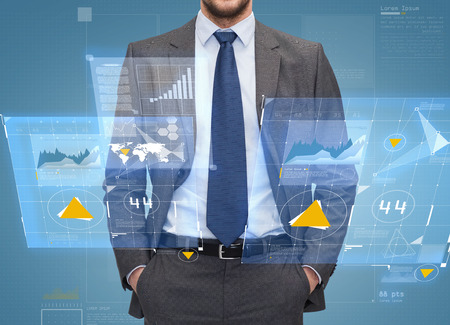business, people and office concept - close up of businessman over blue graph and virtual screens projection background photo