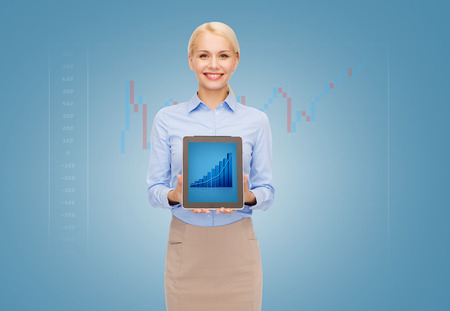 business, internet and technology concept - businesswoman showing tablet pc computer screen with graph photo