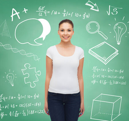 advertising, education, school and people concept - smiling young woman in blank white t-shirt over green board background with doodles photo