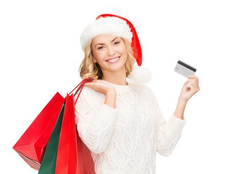 Vente, Cadeaux, Noël, X-mas Notion - Femme Souriante à Santa ...