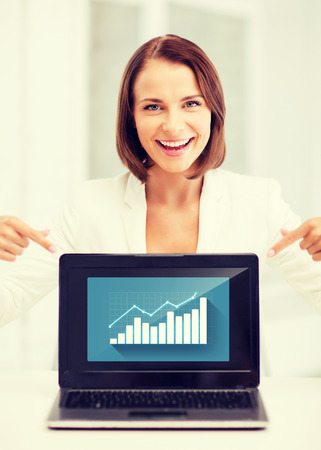 business concept - businesswoman showing laptop with graph photo