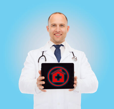 house coats: medicine, profession, and healthcare concept - smiling male doctor with tablet pc computer and stethoscope over blue background