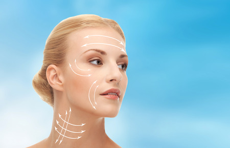beauty treatment clinic: health, beauty, medicine concept - beautiful woman ready for plastic surgery or cosmetic procedure
