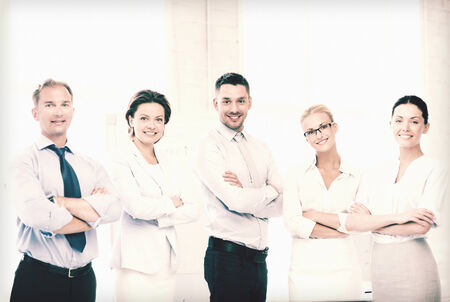 picture of friendly business team in office photo