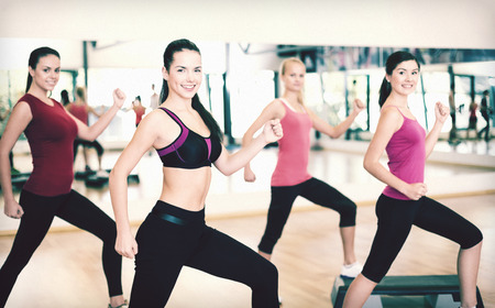 aerobic exercise: fitness, sport, training, gym and lifestyle concept - group of smiling people doing aerobic