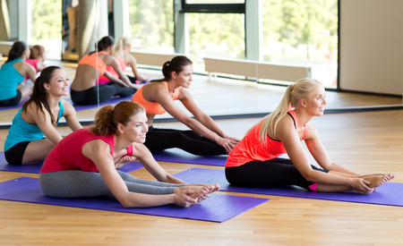 fitness, sport, training and lifestyle concept - group of smiling women stretching in gym photo