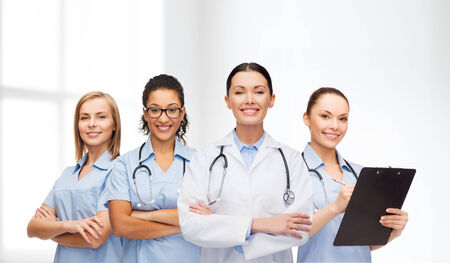 medicine and healthcare concept - team or group of female doctors and nurses photo