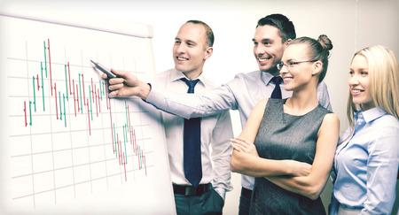 lachende business team met forex grafiek op flip bord met discussie Stockfoto