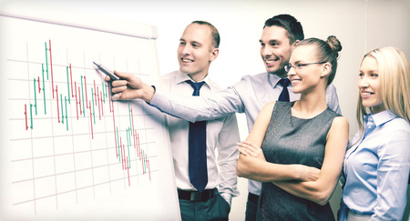 smiling business team with forex chart on flip board having discussion