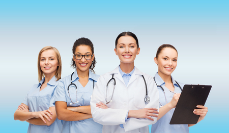 clinical staff: medicine and healthcare concept - team or group of female doctors and nurses