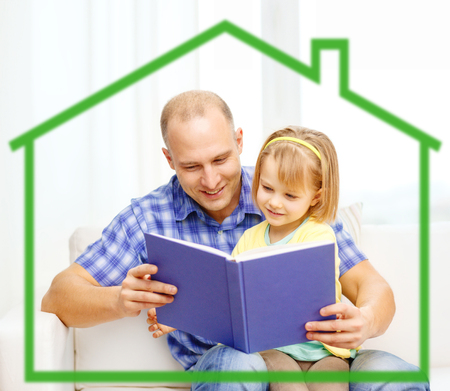 family, children, education, school and happy people concept - smiling father and daughter reading book at home behind green house symbol photo