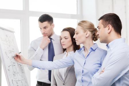 Los negocios, la educación y el concepto de oficina - equipo de negocios serio con junta de tapa en la oficina hablando de algo Foto de archivo - 34717366