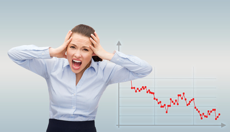 desperation: business, bankruptcy, desperation, people and stress concept - angry screaming businesswoman over gray background and forex graph going down
