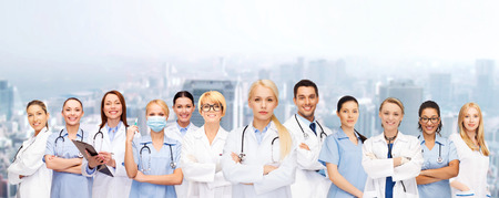 clinical staff: medicine and healthcare concept - team or group of doctors and nurses