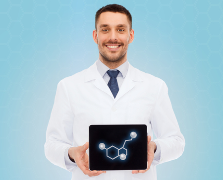 molecular model: medicine, technology, people and biology concept - smiling male doctor showing tablet pc computer screen with molecular model over blue background