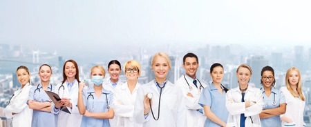 mentors: medicine and healthcare concept - team or group of female doctors and nurses