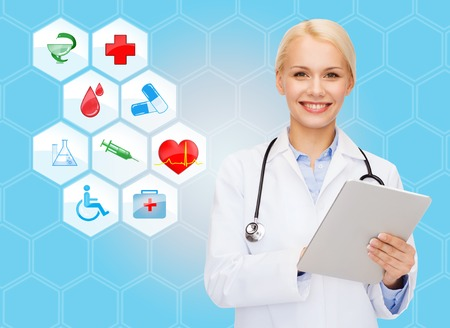 medical technology: healthcare, medicine, people, technology and symbols concept - smiling young female doctor or nurse with tablet pc computer over medical icons and blue background