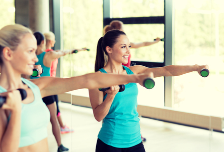 shaping: fitness, sport, training, gym and lifestyle concept - group of women with dumbbells in gym