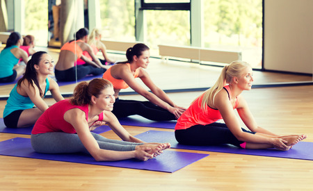 yoga class: fitness, sport, training and lifestyle concept - group of smiling women stretching in gym