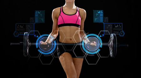 fitness, sport and dieting concept - sporty woman exercising with barbell 版權商用圖片