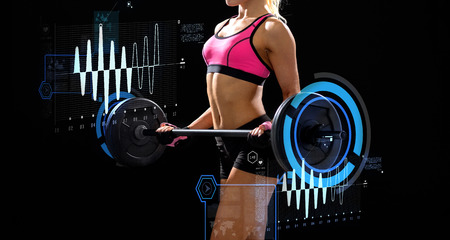 barbell: fitness, sport and dieting concept - sporty woman exercising with barbell Stock Photo