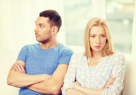 not a problem: love, family and relationship problems concept - unhappy couple not speaking after having argument at home Stock Photo