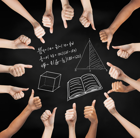 many hands: school, education, gesture, mathematics and people concept - human hands showing thumbs up in circle over black board background with mathematical symbols