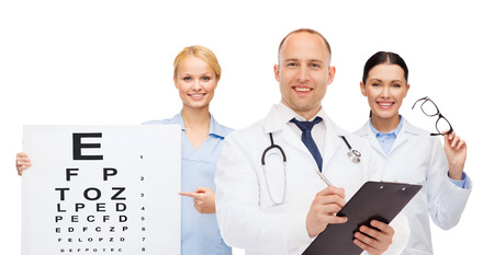 ophthalmologist: medicine, profession, teamwork and healthcare concept - international group of smiling medics or doctors with eye chart, clipboard and stethoscopes over white background
