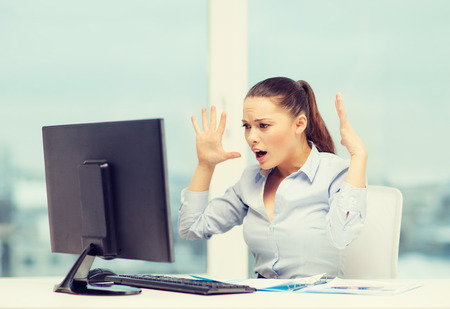 examination stress: business, office, school, problem, crisis, stress and education concept - stressed businesswoman with computer and documents at work