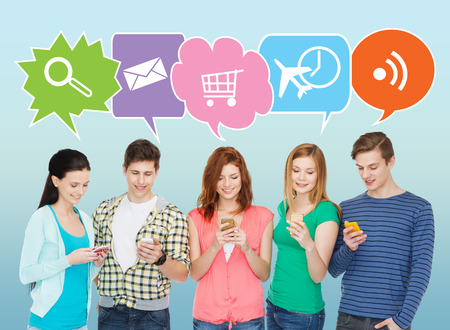 online: people, communication and technology concept - smiling friends with smartphones over blue background with doodles