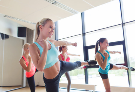 aerobics: fitness, sport, people, martial arts and gym concept - group of women working out and standing in battle stance