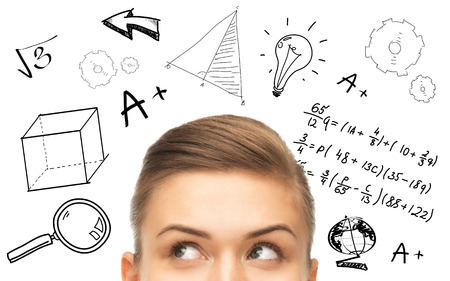 algebra: education, school, mathematics and people concept - close up of woman looking up to mathematical doodles Stock Photo