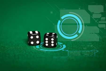 odds: gambling, fortune, game, technology and entertainment concept - close up of black dice on green casino table and virtual projection
